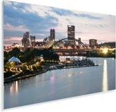 De brug die over de Monongahela gaat met de horizon van Pittsburgh in de VS Plexiglas 180x120 cm - Foto print op Glas (Plexiglas wanddecoratie) XXL / Groot formaat!