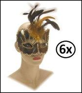 6x Oogmasker roma goud luxe