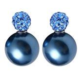 Fako Bijoux® - Oorbellen - Double Disco Dots - Parel - Blauw