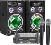 Karaokeset - KA-12 karaokeset met twee speakers met LED verlichting en twee draadloze microfoons