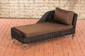 Clp Moss - Chaise longue - Poly-rotan - Rotan kleur: zwart overtrek terrabruin