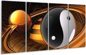 Glasschilderij Abstract   Zwart, Wit, Goud   160x80cm 4Luik   Foto print op Glas    F003165