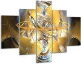 Glasschilderij Abstract | Geel, Zilver, Grijs | 100x70cm 5Luik | Foto print op Glas |  F001415