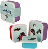 set van 3  doosjes lunch / koek pinguïn . Puckator