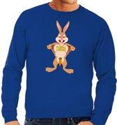 Paas sweater verliefde paashaas blauw voor heren L