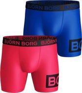 Bjorn Borg - Heren 2-Pack Borg Block Microfiber Boxershorts Blauw Roze - XL