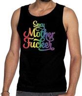 Gaypride sexy mother fucker tanktop/mouwloos shirt  - zwart regenboog homo singlet voor heren - gaypride S