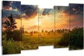 Canvas schilderij Natuur   Bruin, Groen   150x80cm 5Luik