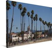 Het stadslandschap van Santa Cruz Californië achter palmbomen Canvas 180x120 cm - Foto print op Canvas schilderij (Wanddecoratie woonkamer / slaapkamer) XXL / Groot formaat!