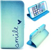 Casify - Blauw Smile 3 Faux Leren Wallet Case Hoesje - iPhone 5 / 5s