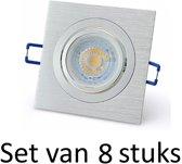 Dimbare 7W GU10 inbouwspot   Zilver vierkant   Set van 8 stuks