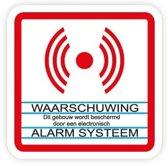 Beveiligingssticker. Alarm Systeem sticker. 12 stuks. Transparant met witte deklaag voor binnenkant raam.  8 cm x 8 cm. B1202T