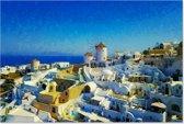 Canvas Schilderij Landschap Santorini Griekenland 90x60 cm