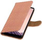 Samsung Galaxy S8 Plus Licht Roze   Snake bookstyle / book case/ wallet case Hoesje    WN™