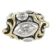 Quiges Bedel Bead - 925 Zilver - 14 Karaat Goud Verguld Patroon met Zirkonia Kraal - Z395