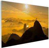 Zonsopkomst in Rio de Janeiro Glas 120x80 cm - Foto print op Glas (Plexiglas wanddecoratie)