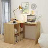 vidaXL Bureau met boekenplank 117x92x75,5 cm eiken