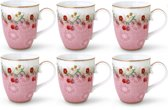 Pip Studio Floral Mok Groot Cherry Roze - 6 stuks