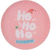 Bellatio Decorations kerst bord - Warm Wishes - 25 cm - roze