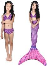 Zeemeerminstaart met bikini Purple Waves maat 150   Zonder monovin    Besteld vóór 15u? Woon je in Nederland? Dan levering volgende werkdag!