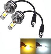 2 STKS H7 6 W 400LM Auto LED driekant COB Chips Lamp Mistlamp Lamp Vervanging, (Wit Licht + Geel Licht)