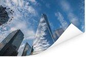 Een prachtig wolkenveld weerspiegelt in het World Trade Center in New York Poster 180x120 cm - Foto print op Poster (wanddecoratie woonkamer / slaapkamer) XXL / Groot formaat!