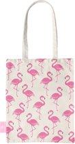 BEACHLANE - Katoenen tasje - Canvas Tote Bag Shopper - Flamingo print - Schoudertas / Boodschappen tas
