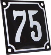 Emaille huisnummer zwart/wit nr. 75 10x10cm