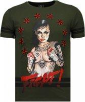 Local Fanatic Fighter! - Rhinestone T-shirt - Groen - Maten: M