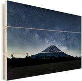 De Japanse vulkaan de Fuji tijdens de nacht Vurenhout met planken 30x20 cm - klein - Foto print op Hout (Wanddecoratie)