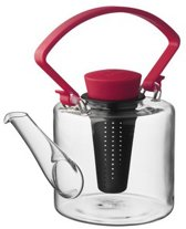 Qdo Theepot Glas - Cylinder - Met Clip Handvat - 1 liter - Rood