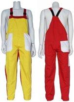 Yoworkwear Tuinbroek polyester/katoen geel-wit-rood maat 128