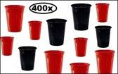 Rode/zwarte plastic beker 400 stuks