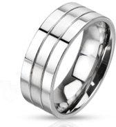 Ringen Mannen - Ring Dames - Ringen Dames - Ringen Vrouwen - Zilverkleurig - Zilveren Kleur - Ring - Moderne Strepen - Line