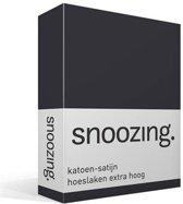 Snoozing - Katoen-satijn - Hoeslaken - Extra Hoog - Eenpersoons - 80x220 cm - Antraciet