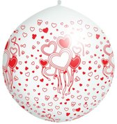 Balloon 1m, Hearts, print, Pastel wit