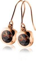 Zinzi - ZIO1150E zilveren oorhangers roségoud verguld bruin