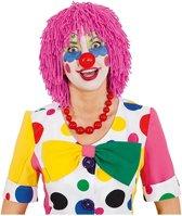 Roze verkleed clownspruik van wol