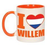 1x I love Willem beker / mok - oranje met wit - 300 ml keramiek - oranje bekers