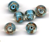 36 Stuks Hand-made Jewelry Beads - Rond - Transparant Turquoise