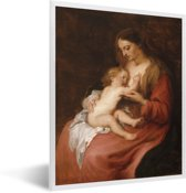 Foto in lijst - Virgin and Child - Schilderij van Anthony van Dyck fotolijst wit 30x40 cm - Poster in lijst (Wanddecoratie woonkamer / slaapkamer)