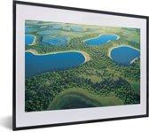 Foto in lijst - Foto vanuit lucht van de Pantanal in Zuid-Amerika fotolijst zwart met witte passe-partout klein 40x30 cm - Poster in lijst (Wanddecoratie woonkamer / slaapkamer)