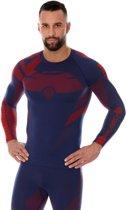 Brubeck | Heren DRY Thermoshirt -  Sport Ondershirt / Baselayer - Light - Lange Mouw - Marineblauw/Rood - XL
