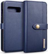 Samsung Galaxy S10 Leren 2-in-1 Bookcase en Back Cover Hoesje Blauw