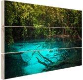 Helderblauw meer in de jungle Hout 80x60 cm - Foto print op Hout (Wanddecoratie)
