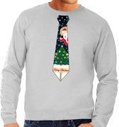 Foute kersttrui / sweater met stropdas van kerst print grijs voor heren L (52)