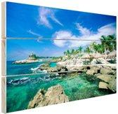 FotoCadeau.nl - Rotsformaties in de zee Mexico Hout 80x60 cm - Foto print op Hout (Wanddecoratie)