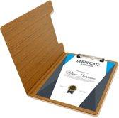 A4 Klembord met Omslag Rapportmap / Diplomamap / Certificaat Mappen - Houtpatroon Bruin