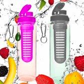 #DoYourFitness - 2x Fruitwater fles - »FruitInfusior« - Fruit infuser voor fruitpunches / groente spritzers - 700ml - roze/zwart