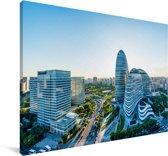 Blauwe kleuren op de gebouwen in Beijing Canvas 120x80 cm - Foto print op Canvas schilderij (Wanddecoratie woonkamer / slaapkamer)